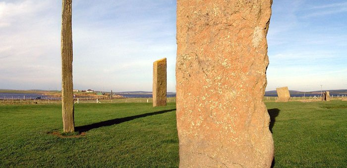 The Standing Stones of Stenness, looking north-west towards the Ness of Brodgar. (Sigurd Towrie)