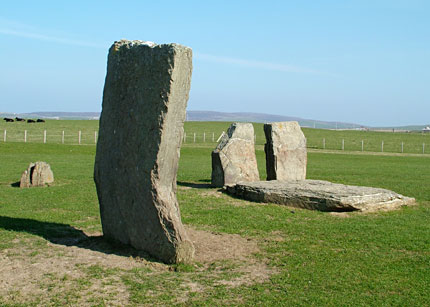 Stone Seven with the stump of Stone Eight and the orthostats used to create the dolmen in 1906. (Sigurd Towrie)