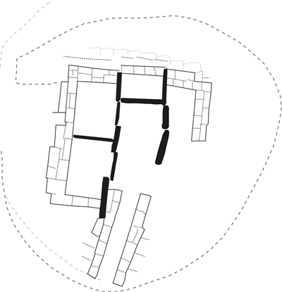 Plan of the Bookan chambered cairn recorded during Farrer's 1861 excavation. (After Petrie)