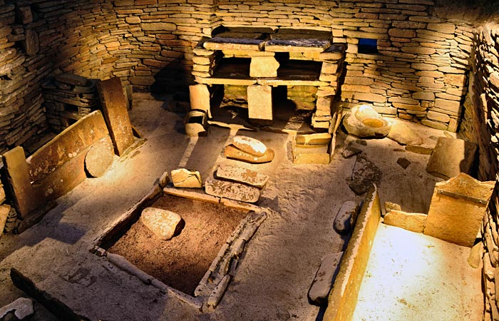 The interior of House One at Skara Brae, showing the internal furnishings similar to that encountered at Structure Eight. (Adam Stanford/www.aerial-cam.co.uk)