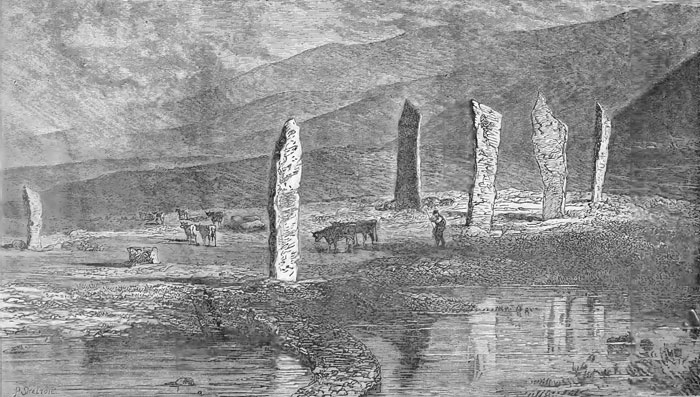 """""""The Standing Stones of Stenness"""" by James Fergusson. The Odin Stone is pictured (in the wrong location) at the left of the picture. (The Orkneys in Early Celtic Times. Macbeath. 1892)"""