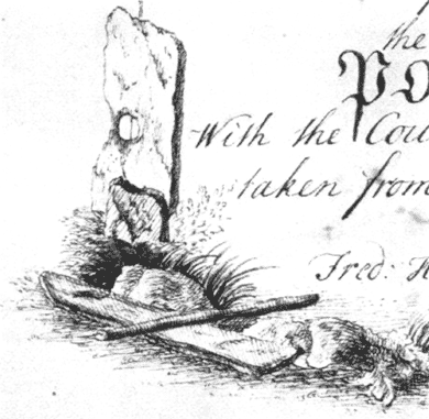 """The Odin Stone as it appeared in the ornately illustrated title to Walden's """"A plan of the Circle of Loda in the Parish of Stenhouse"""". 1772."""