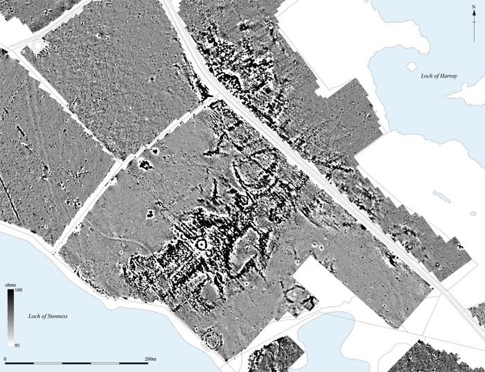Gradiometer greyscale plot of the Wasbister area. (Brend et al. Landscapes Revealed)