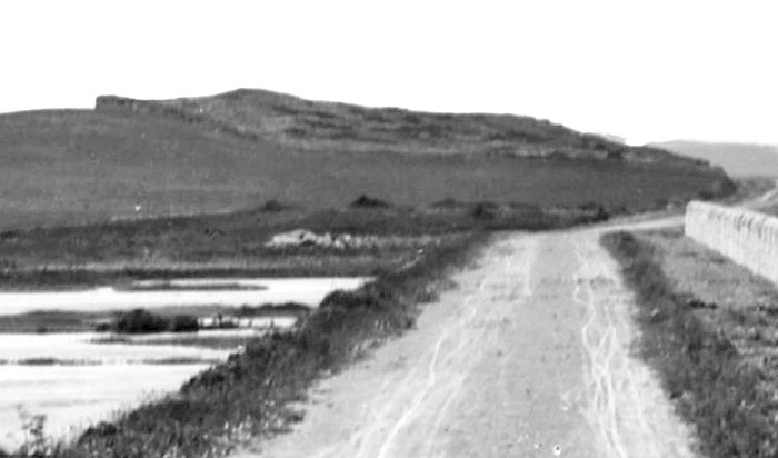 """A closer view of the """"tumulus"""" before it was mostly removed in the 1880s."""