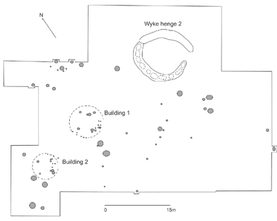 Settlement features, structures and Henge Two at Wyke Down. (After French et al. 2007)
