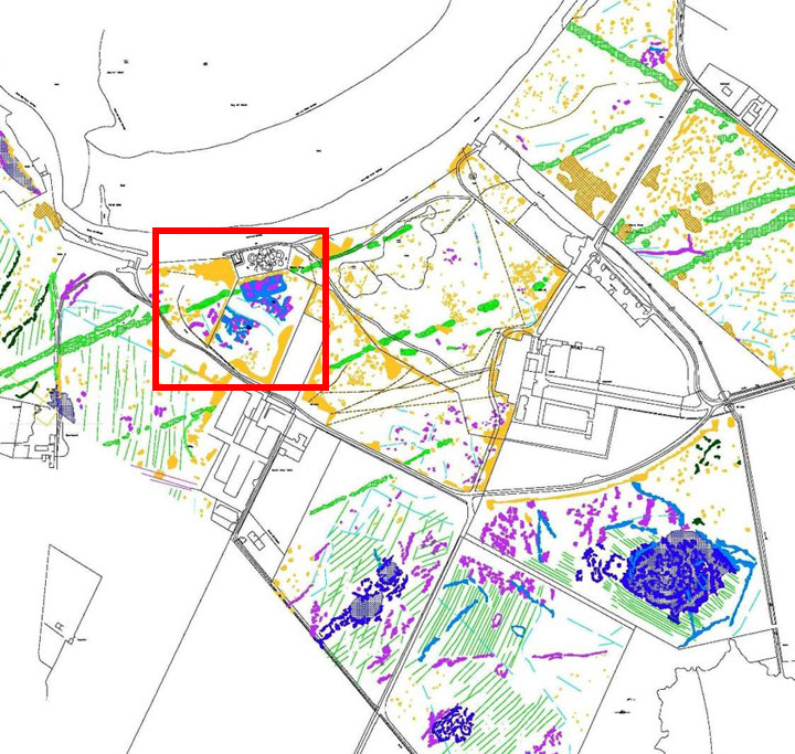 Geophysics survey result of the Bay of Skaill area, Sandwick. The cluster of anomalies around the consolidated remains of Skara Brae, suggesting additional prehistoric activity, are highlighted in the box. (ORCA/Landscapes Revealed [2019])