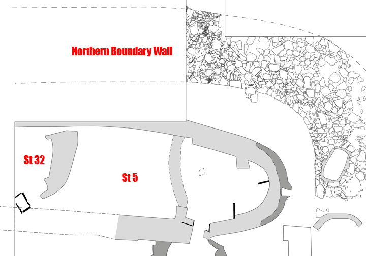 Position of Structure Thirty-Two's surviving wall section in relation to the earlier Structure Five and northern boundary wall.