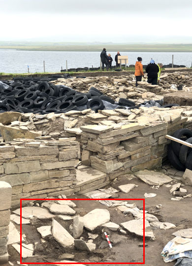 The area of collapsed drain to the north of Structure Twelve. (Sigurd Towrie)