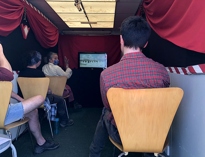 Some of the excavation team in the on-site cinema enjoying the premiere of Dr Karen Wallis' Ness film. (Sigurd Towrie)
