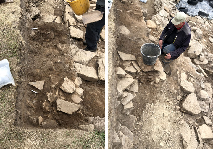 Left: Walling begins to appear in the south-western extension in Trench J. Right: Colin with his later floating wall built atop rubble. (Sigurd Towrie)