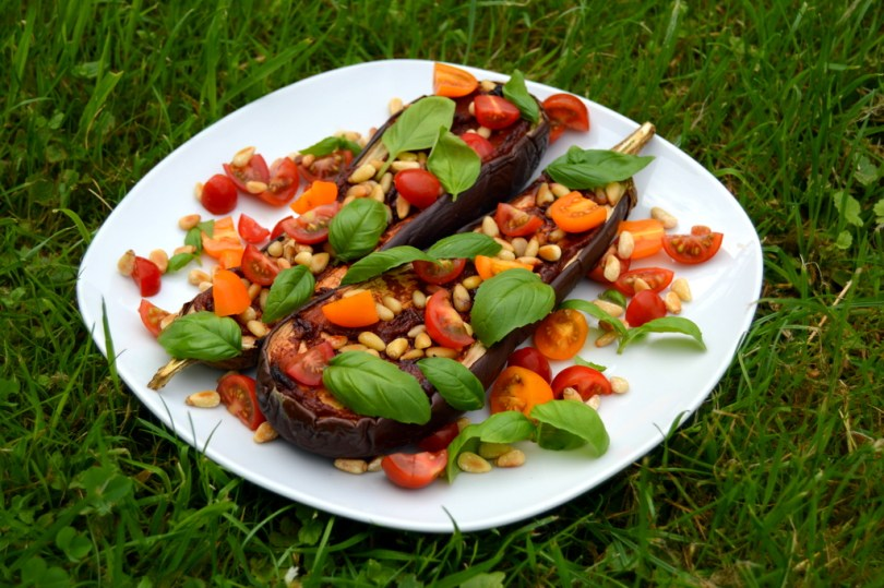 Aubergine Tomato and Basil Pizza - Vegan and gluten free