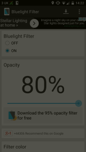 use a bluelight filter at night for better sleep