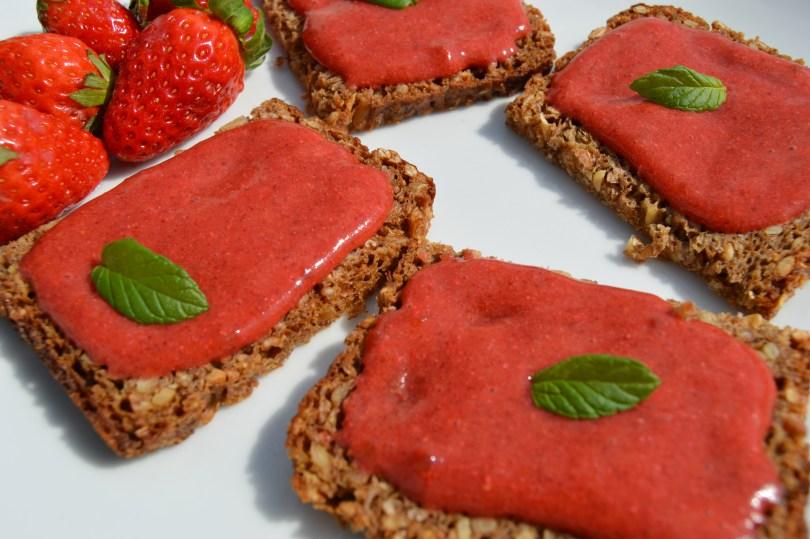raw chia strawberry jam on rye bread