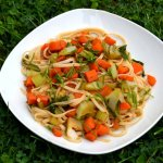 Cauliflower Leaves Noodle Stir Fry