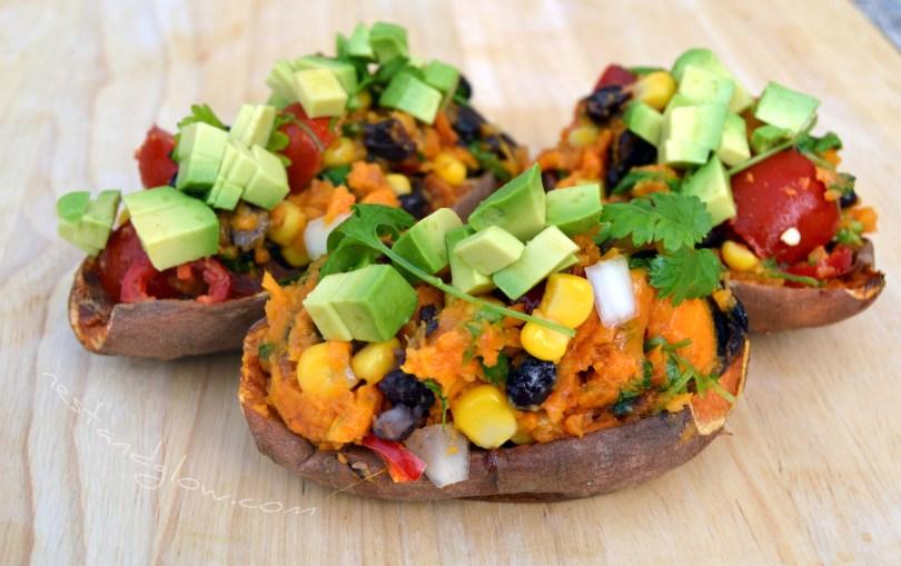 Tex-Mex Loaded Sweet Potato Skins with avocado