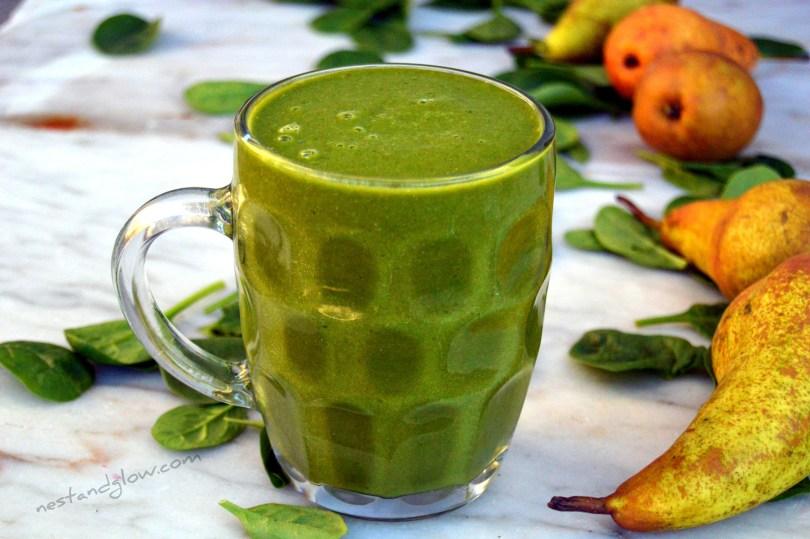 Vegan High Protein Hemp Protein Pear Spinach Smoothie