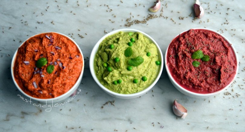 Pea and mint, beetroot cumin and roasted red pepper and onion hummus recipe