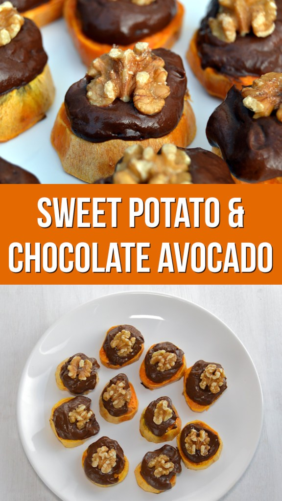 Sweet Potato and Chocolate Avocado bites are a healthy appetiser that taste great and are full of nutrition. Dairy free and sweetened just with sweet potatoes and dates without refined sugar. Naturally gluten free and easy to make #veganrecipe #sweetpotato #vegancooking #glutenfree #healthyrecipe