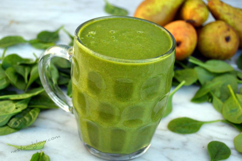Easy to make Hemp Protein Pear Spinach Smoothie