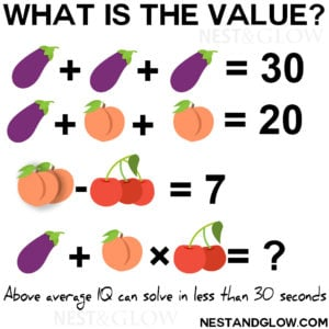 Aubergine Peach Cherries Maths Puzzle