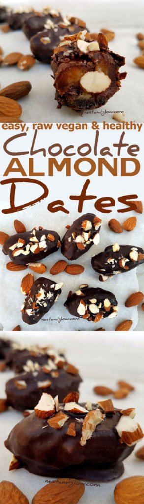 Easy recipe for almond stuffed raw chocolate dates