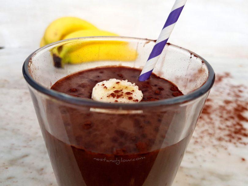 A glass of chocolate banana fudge dairy free milk shake