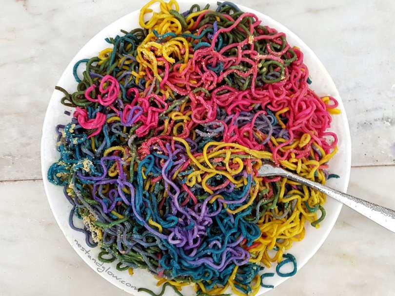 Oodles of bright rainbow noodles that are all natural and organic