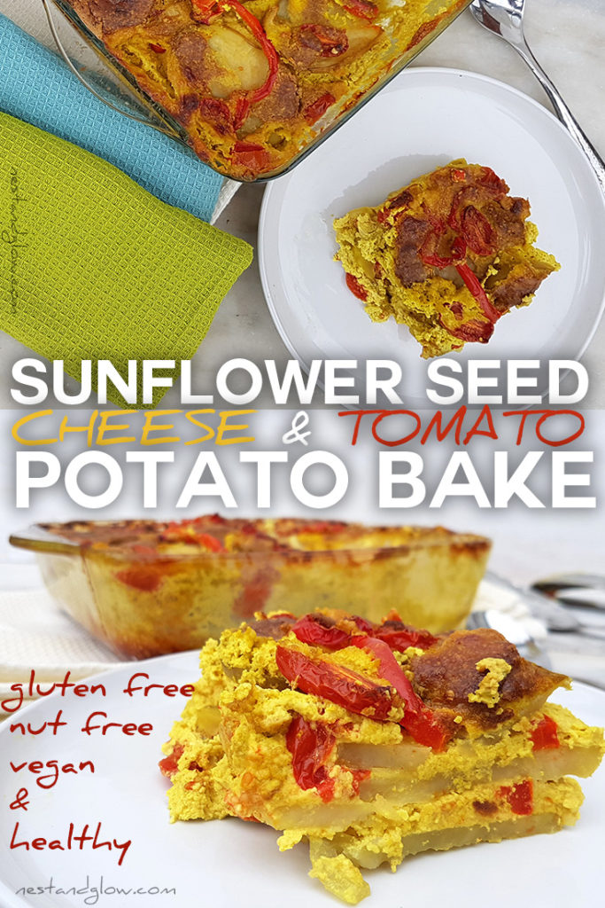 Cheap and easy to make vegan cheese and tomato potato bake
