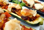 chilli stuffed courgettes with Cashew Cheese recipe