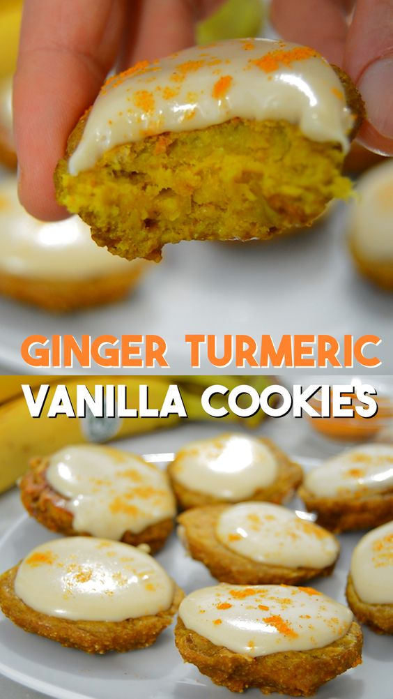 ginger turmeric healthy cookies with cashew vanilla frosting