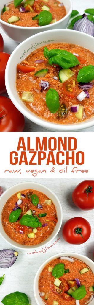 Almond Tomato Red Pepper Gazpacho Soup - Raw Vegan and Oil-Free