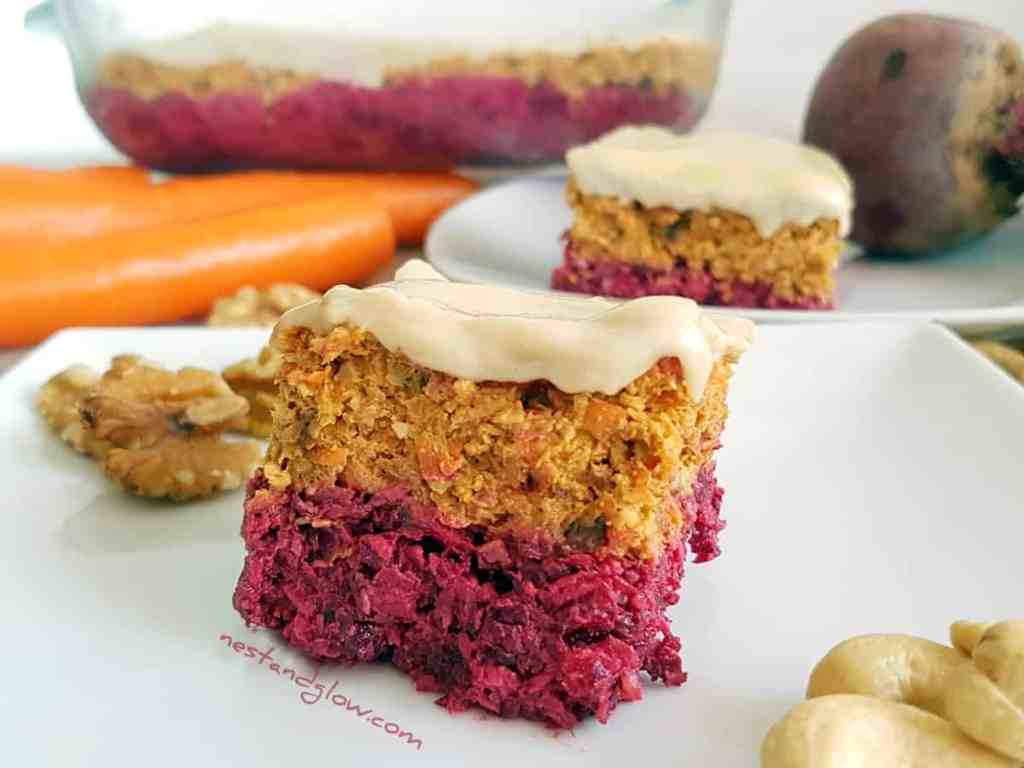 Raw Carrot Beetroot Cake Recipe