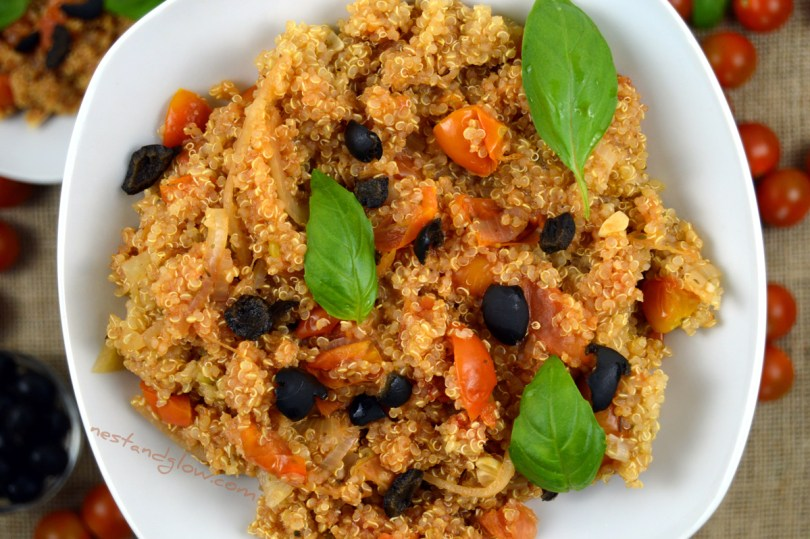 One-pot Tomato Basil Quinoa With Black Olives