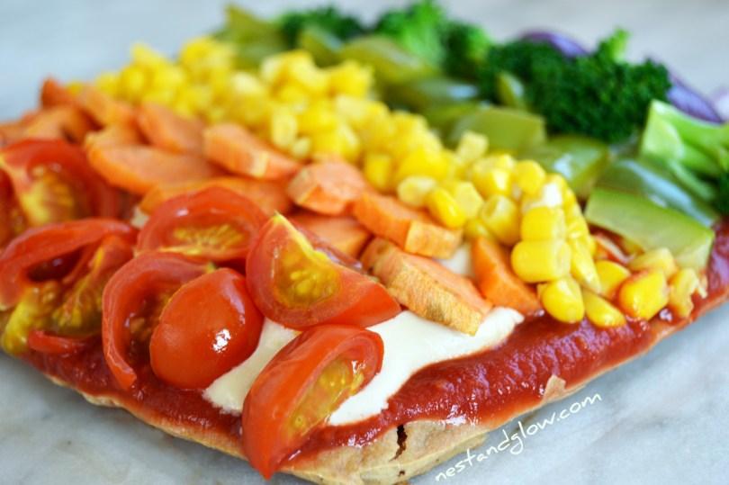Easy and healthy rainbow pizza