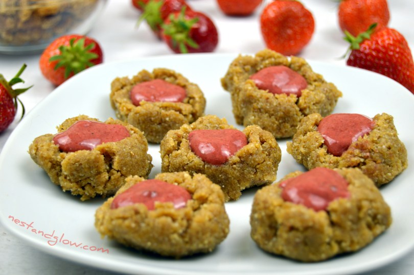 Raw Strawberry Thumbprint Cookies Paleo and plant-based