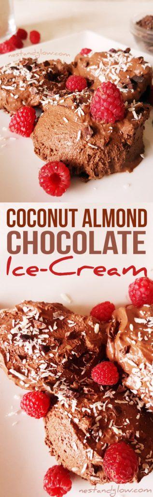 Coconut Almond Chocolate Ice-Cream Recipe - Vegan & Paleo