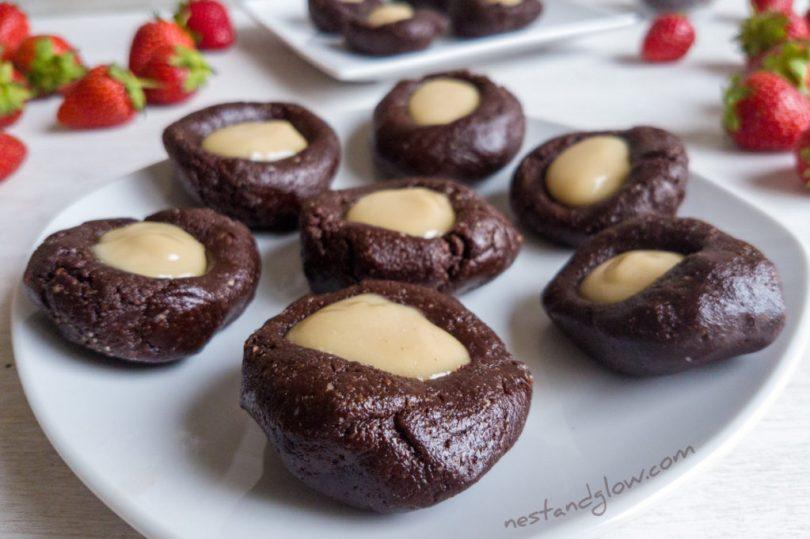 A plate of Raw Chocolate CashewThumbprints