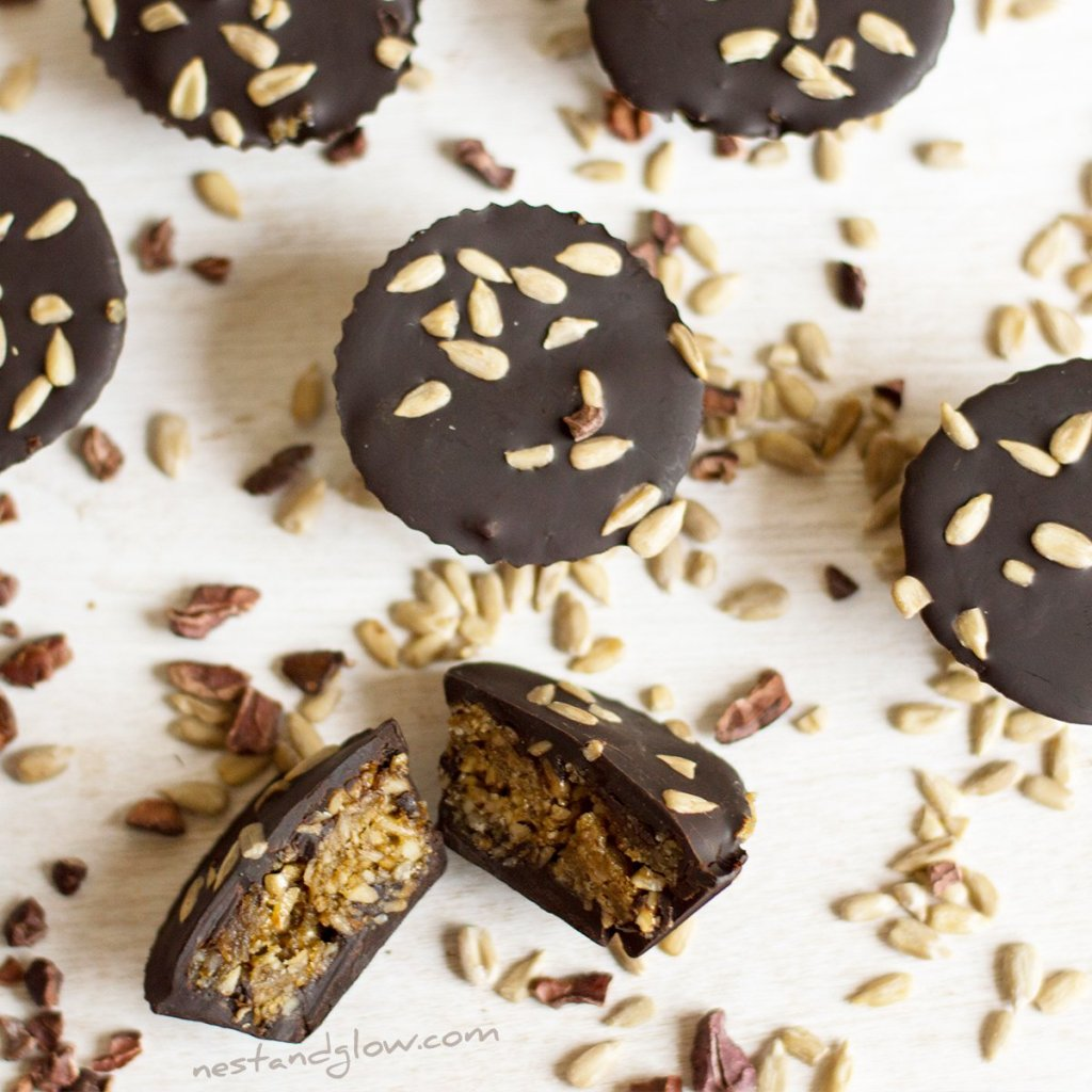 Sunflower seed butter caramel cups paleo