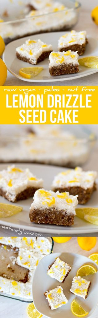 lemon drizzle seed cake recipe - Raw Vegan, Paleo, Gluten-free and Nut-free