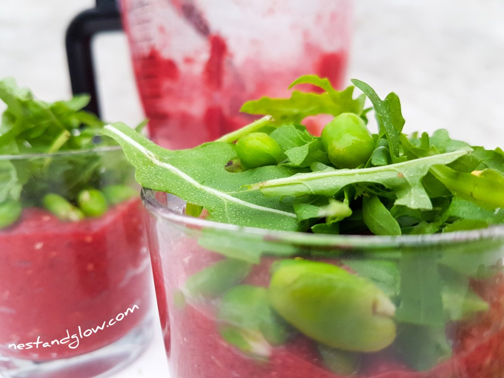 Close Beetroot and Bean Protein Pots with rocket and broad beans