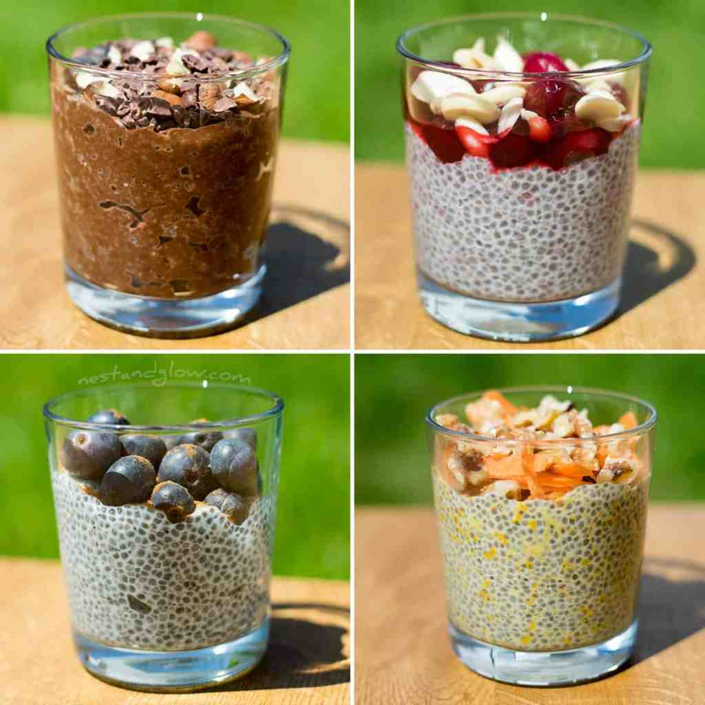 Overnight chia puddings easy vegan