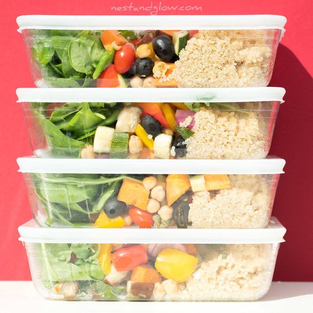 vegan meal prep layered quinoa lunchbox salad