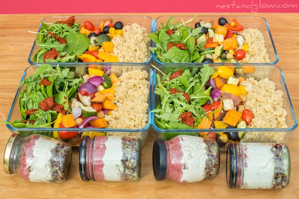 vegan protein Meal prep salad and cake