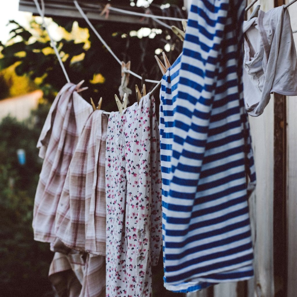 washing line of drying clothes outside