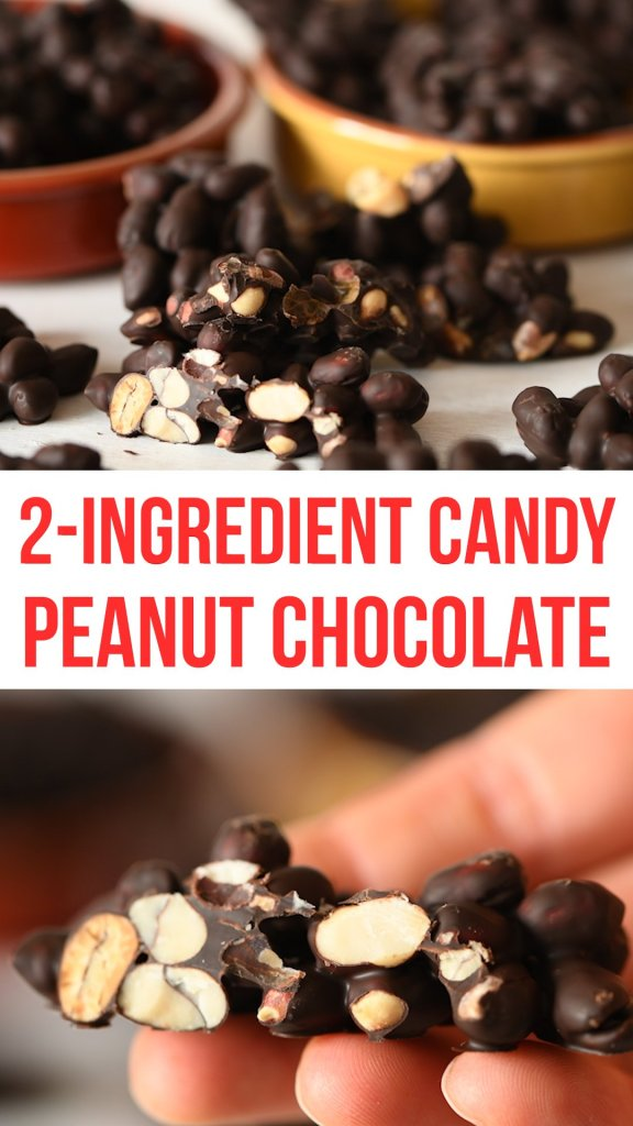 2 Ingredient Peanut Chocolate candy can be made in a few minutes. This easy candy recipe is really popular with everyone and full of protein. Can be made with any chocolate that you like but dark chocolate makes this naturally dairy free. No flour, no butter, no dairy, no eggs, no sugar, no wheat! #vegan #healthyrecipes #healthyfood #healthyeating #healthyliving