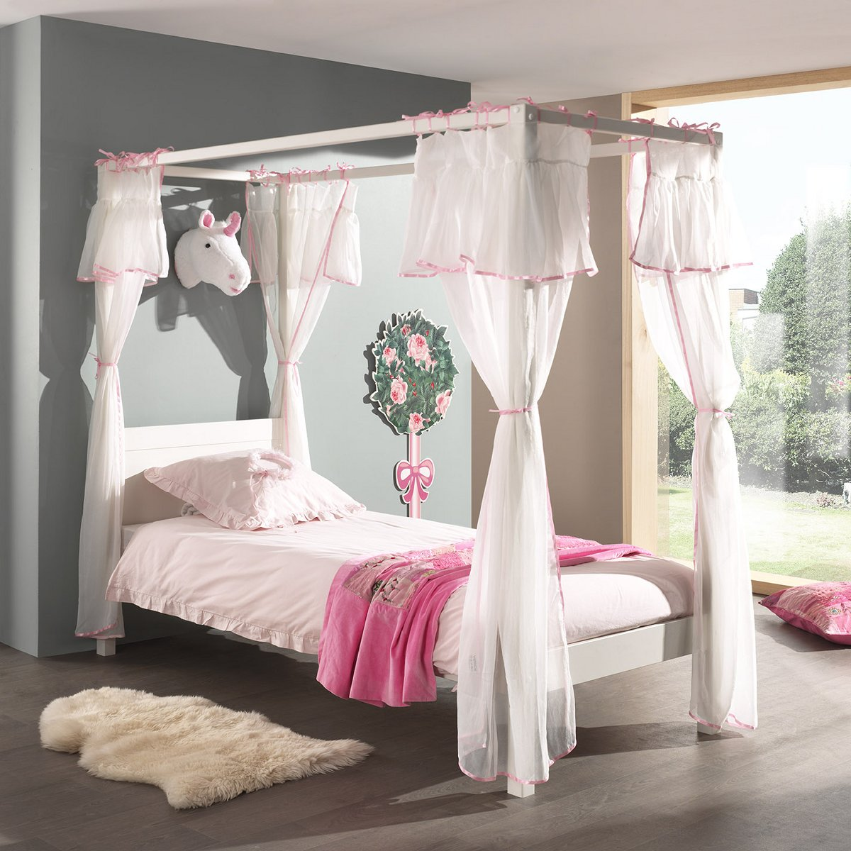quinn four poster canopy bed white single extra length