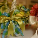 Ribbon Trimmed Easter Baskets with Alpha Phi Letters I Nesting With Style