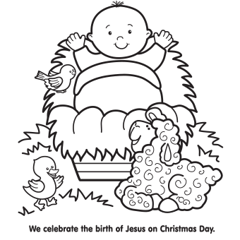 It is a picture of Unusual Baby Jesus In A Manger Coloring Pages