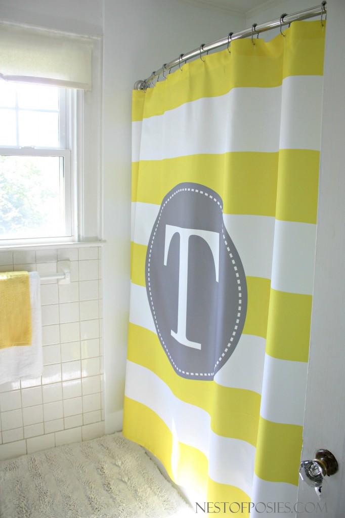 Monogram Initial Shower Curtain