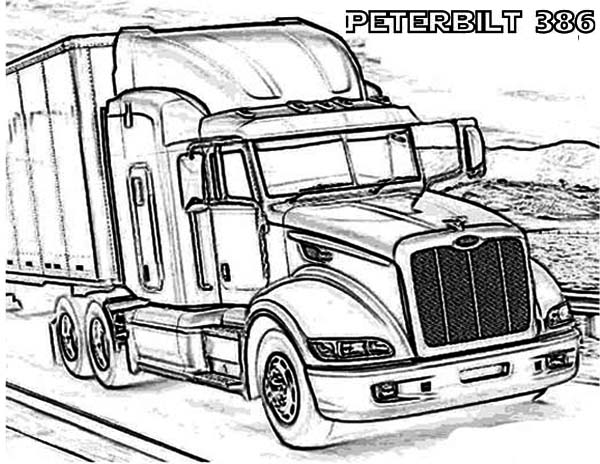 page here home semi truck a peterbilt 386 semi truck coloring page